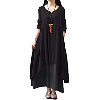 Romacci Women Boho Dress Casual Irregular Maxi Dresses Vintage Loose Long Sleeve Cotton Linen Dress,Gr.XXXXX-Large-Black