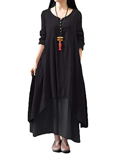 b03d8f557d4c70 Romacci Women Boho Dress Casual Irregular Maxi Dresses Vintage Loose Long  Sleeve Cotton Linen Dress,