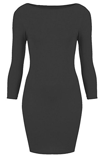 Flirty Wardrobe robe Midi Bodycon stretch à manches longues pour femme col rond uni 8-22 Noir