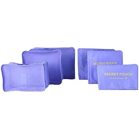 6pcs / set ropa impermeable cubo organizador de viaje bolsas de almacenamiento de embalaje bolsa de equipaje