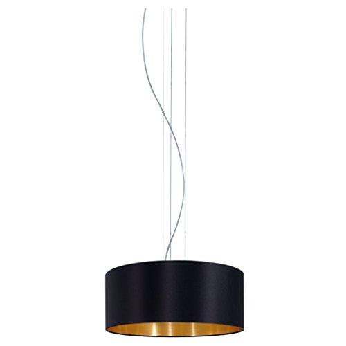 EGLO Hängeleuchte Maserlo Durchmesser 53cm Nickel-Matt Schirm Schwarz Gold, Stahl, E27, 53 x 53 x 110 cm