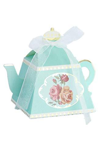VIDOO 50Pcs Hot Stamping Royal Teapot Candy Box Retro Sugar Box Personality Afternoon Tea Pastry Box-Blau