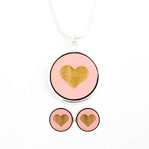 Schmuckset Kette-Ohrringe versilbert | Holz - Herz rosa