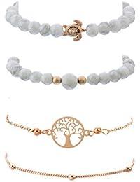 c9765ca15b2a ZSCRL Nuevos Accesorios para Mujeres Pulsera Fashion Life Tree Cuentas de  Tortugas Blancas Set de 4