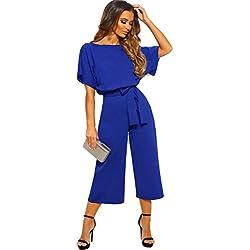 Longwu Femmes élégant Taille Haute Manche Courte Combinaison Pantalon Large lâche Barboteuses avec Ceinture Bleu Royal-S