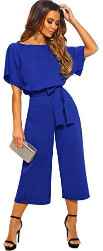 Longwu Mujeres Casual Elegante Cintura Alta Mono de Manga Corta Pantalones de Pierna Ancha Ocasionales Mamelucos Sueltos con cinturón Azul Real-S