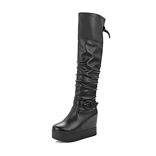 AgooLar Damen Hoch-Spitze Ziehen auf Weiches Material Hoher Absatz Rund Zehe Stiefel, Schwarz, 37