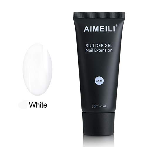 AIMEILI Gel Nagel Verlängerung Weiß 30ml Soak Off UV LED Nail Extension Builder Gel