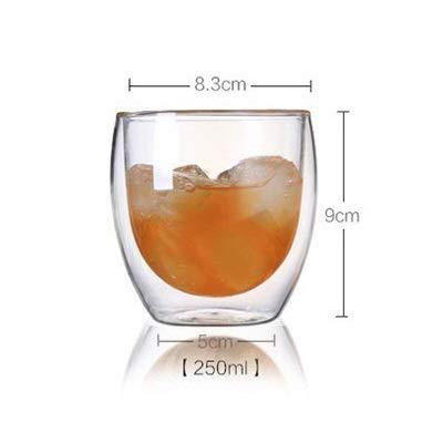 Z-Wenquan-glass, 1 Stücke hitzebeständige Doppelwandige Glas Tasse Bier Kaffeetasse Set Handgemachte Kreative Bierkrug Tee Glas Whisky Glas Tassen Drink (Größe : 250ml)
