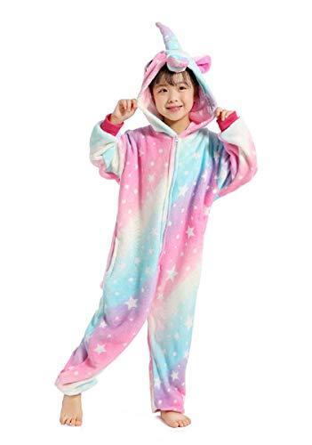 UMIPUBO Pijama Animal Niña Unisexo Cosplay Traje Disfraz Niña Animal Pijamas Onesies Ropa de Dormir Halloween y Navidad (Tamaño 115-para Altura:120-130cm, Unicornio Rosado)