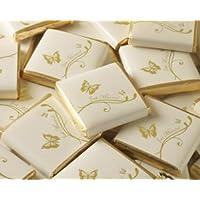50 chocolatinas para regalo de boda, envueltas en papel de color marfil, con un