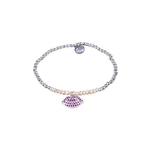 lua accessories - Armband Damen - elastisches Perlenarmband - geschliffene Glasperlen - Bonnie silber (creme/Kiss) -
