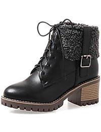 Heart&M Mujer Zapatos PU Otoño Invierno Confort Botas Tacón Robusto Dedo redondo Con Cordón Para Blanco Negro...