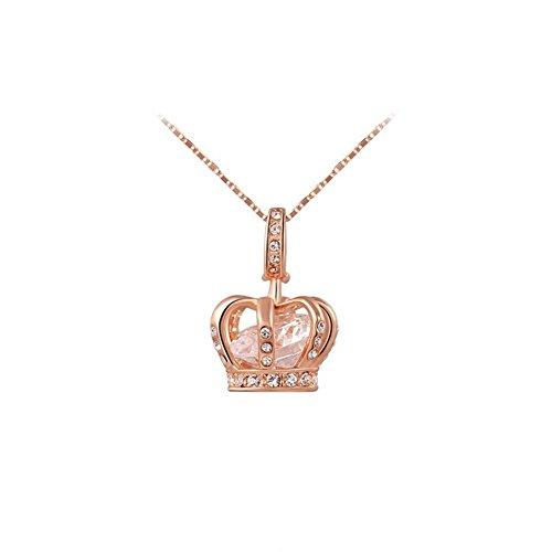 Yeahjoy charm da donna, ciondolo a forma di corona da principessa collane intarsiato cristallo collane, 18ct rosa oro, cod. 2030007410