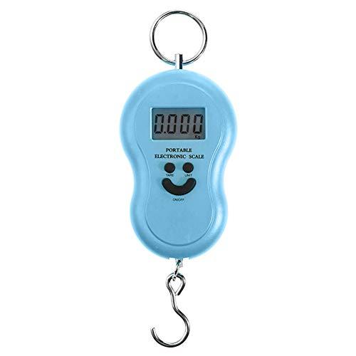 6SlonHy 50 kg / 10 g kompakte tragbare Lächeln Gesicht Mini Digitale Hintergrundbeleuchtung hängen langlebige Skala Gepäck Tasche Gewicht Werkzeug Blau Regulär - Digitales Gesicht