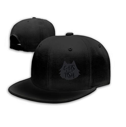 Hip Hop Baseball Cap Hat for Boys Girls Cats Love Fish Cute Fun Print Design Concept Quote i Black