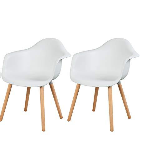 Chaise avec accoudoirsBlanc Lot de en Plastique 2 eSituro Design Salon SDC0014 Fauteuil FTKJ31lc