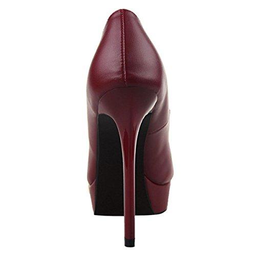 JNTworld Femmes Pointu Bout Platforme Haute Svelte Stylet Talons Robe Pompes Vin rouge