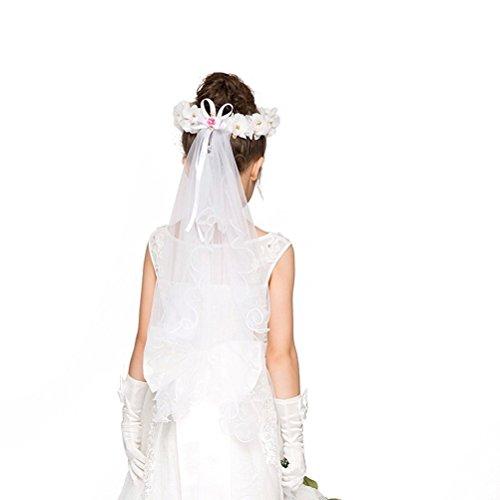 ochzeit Blume Schleier Mädchen erste Kommunion Blume Stirnband Veil (weiß) (Kommunion Schleier)