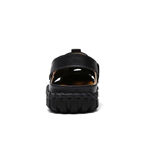 Sandali di cuoio degli uomini pattini Handmade dell'acqua durevole ma molle modo e comodo Black
