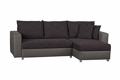 CAVADORE Schlafsofa Caaro mit Recamiere links oder rechts / Couch mit  Schlaffunktion und Bettkasten / Materialmix mit Kunstleder / 233 x 146 x 69 / Dunkellila-Grau