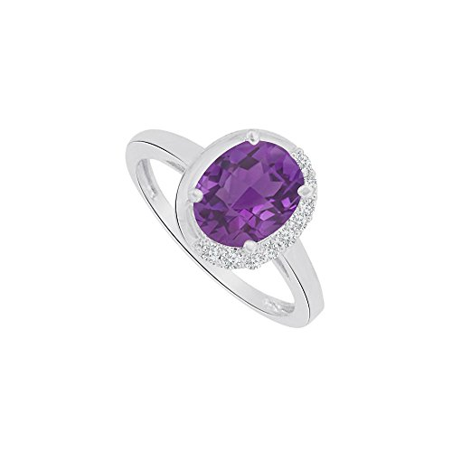 Oval Shape Amethyst and CZ Ring in 14K White Gold