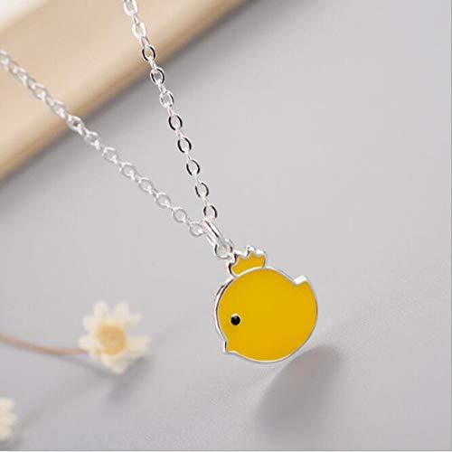 TLLAMG Halskette Korean Fashion Niedlichen Tier 925 Sterling Silber Schmuck Großhandel Gelb Huhn Weiblichen Anhänger Halskette