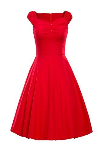 ILover Frauen elegante Vintage-Kleid 1940 mit Flügelärmeln Plisseekleid Red
