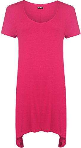 rgröße Elastisch Einfarbig Zipfelsaum Rundhalsausschnitt Kurzarm T-Shirt Top - Cerise - 46 ()
