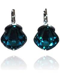 Bohm - Boucles d oreilles Coquillage - Cristal Swarovski ® - Bleu Pétrole -  pOpup 88680619d1e9