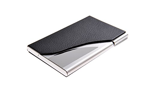 Preisvergleich Produktbild Visitenkartenetui / -halter aus hochwertigem Edelstahl und Bycast Leder, für 13-15 Visitenkarten, Farbe: schwarz, Mod. 398-01 (DE)