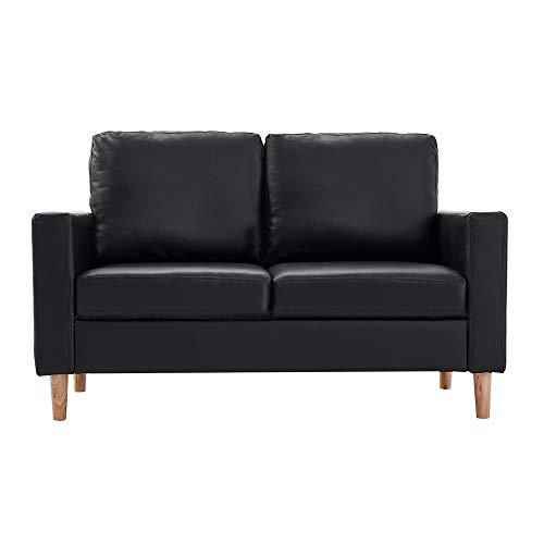 Anaelle Panana Canapé d'angle Sofa Moderne en PU Cuir 2 Places pour Salon, Bureau, 142 x 73 x 82 cm (Noir)