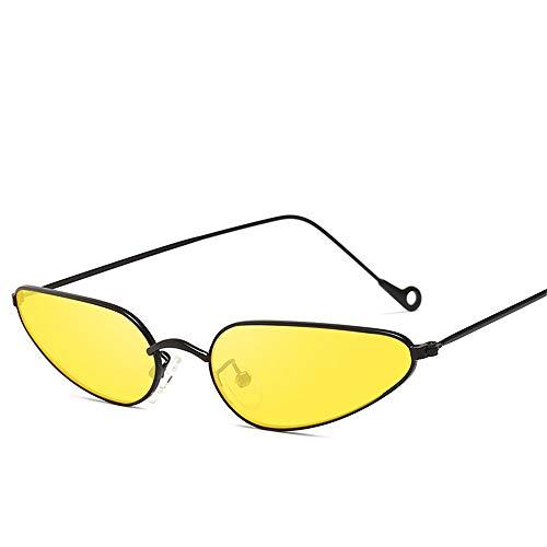 DURIAN MANGO Einzelne Small Frame Cat Eye Metall Sonnenbrille Retro Ocean Sonnenbrille,Yellow