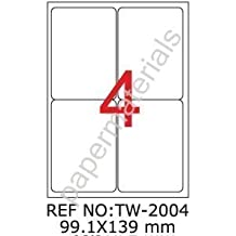 weiß 25 Blatt 210 x 297 mm TANEX TW-2000 Versandetiketten 25 Etiketten
