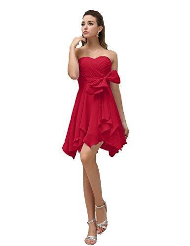 Dresstells, robe courte de demoiselle d'honneur mousseline avec nœud Rouge Foncé