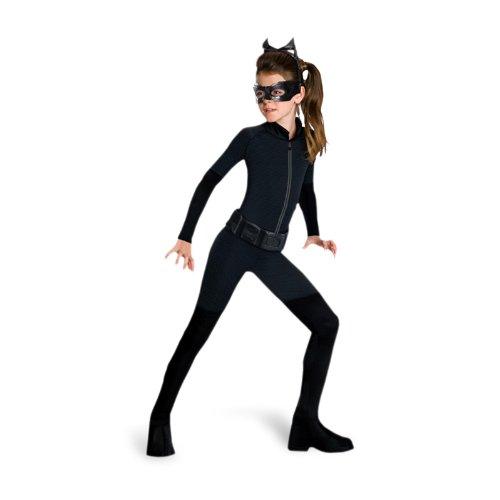 Catwoman Teenager Kostüm Overall zum aktuellen Batman Film Dark Knight Rises mit Kopfteil u Augenmaske - M (Aktuelle Filme Kostüm)