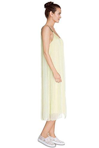 Cherry Paris - Nouveautés - Robe Longue Femme ORIANA Mousseline de Soie Couleur unie, Bretelles Fines à Sequins Brillant Jaune