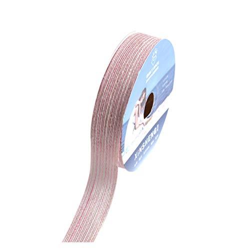 SUPVOX 1 Rolle / 15 Yards Leinenband Verpackung Bouquet Ribbon Hochzeit Geschenk Dekoration (Pink + White) -