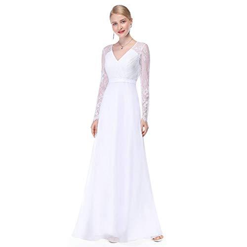 BINGQZ Damen/Elegant Kleid/Cocktailkleider Illusion Langarm Brautkleider Lange Spitze V-Ausschnitt Einfache China Braut Kleid Elegante trouwjurk boda matrimonio