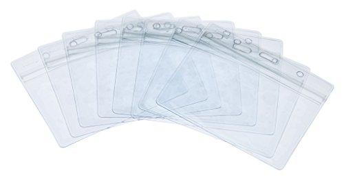 klar durchsichtig ID Badge Card Plastik Pocket Tasche Holder Ausweiskartenhalter Beutel Ausweishülle Kartenhalter Badgeholder Wasserdicht Kunststoff Namensschild Halter Name Tag Badge ID Kartenhalter Horizontal