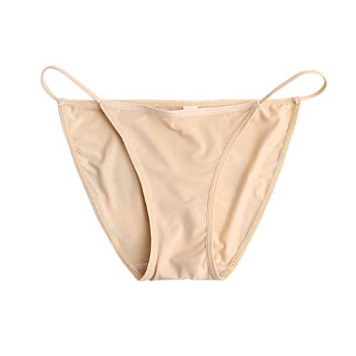 Senoow Womens Nahtlose Ice Silk Sexy T-Back Unterwäsche Slips Einfarbig Dünne Bandage Dessous G-String Low Rise Bikini Thong Panties