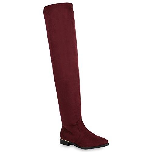(Gefütterte Damen Overknees Metallic Winter Stiefel Leder-Optik 152106 Burgund 37 Flandell)