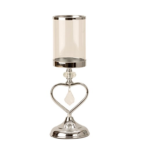 Lifestyle & More Moderner Windlichthalter Kerzenständer Windlicht mit Herz Dekoration aus Metall/Glas Silber Höhe 37 cm