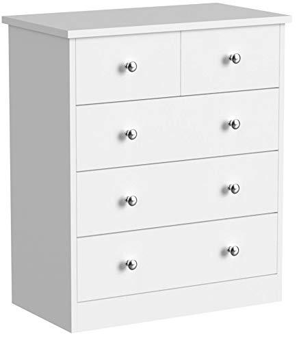 FineBuy Design Holz-Kommode Pure 60 x 70 x 35 cm weiß mit 5 Schubladen | Mehrzweckanrichte flach für Flur | Modernes Sideboard Zeitlose Anrichte