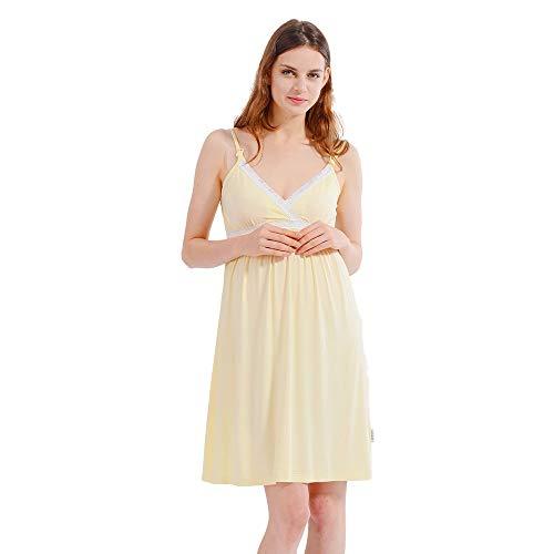 i-baby Camisón Lactancia Ropa de Premama Maternidad Vestido Pijamas Mujer Embarazada Amamantando Verano 2 en 1 (Amarillo Claro, M)