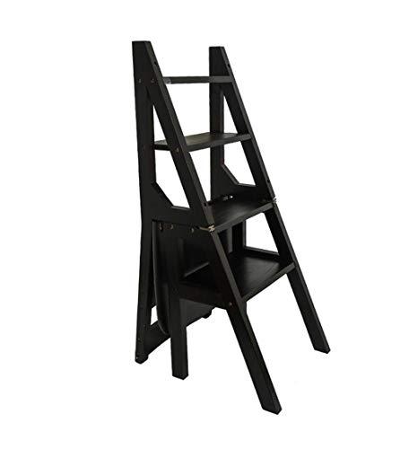 Trittleiter Klappstufen Hölzerner faltender Schritt-Schemel-tragbarer Leiter-Stuhl-Hocker 150kg (4 Farben) Schritt Hocker (Farbe : SCHWARZ) (Schritt Hocker Stuhl)