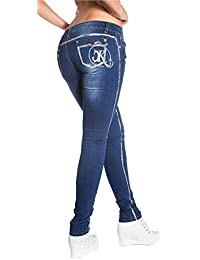 Koucla-Fashion Damen Jeans Skinny Stretch Hose lang Bleach mit Verzierung hot  Strass ceb460707f