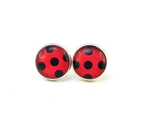 Kontakt Kostüm Farbe - Stechschmuck Ohrstecker Handmade Punkte Polka Dots Lady Bug Ladybug Miraculous Schwarz Rot Silber Farben Damen Kinder Kitsch Kawaii 14mm 1 Paar