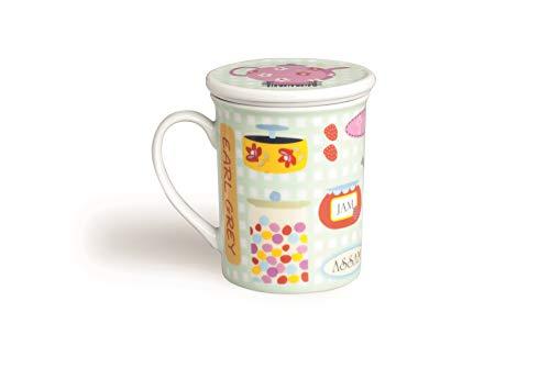 Excelsa Sweet Tisaniera con Filtro E Coperchio, Porcellana, Multicolore, capacità: 200 ml