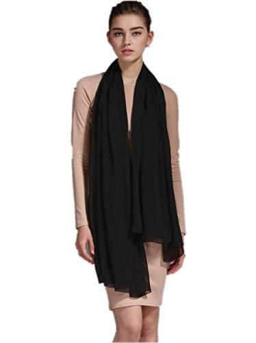 Prettystern 200/140 cm foulard di 100% seta scialle sciarpa pareo sarong estate matrimonio festa - a12 nera